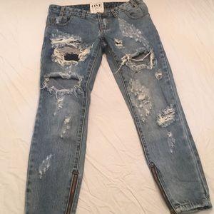 One Teaspoon Trashed Free Birds Jeans 26